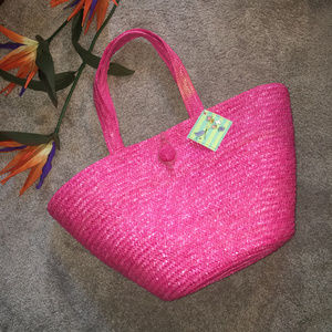 Large Pink Woven Straw Tote